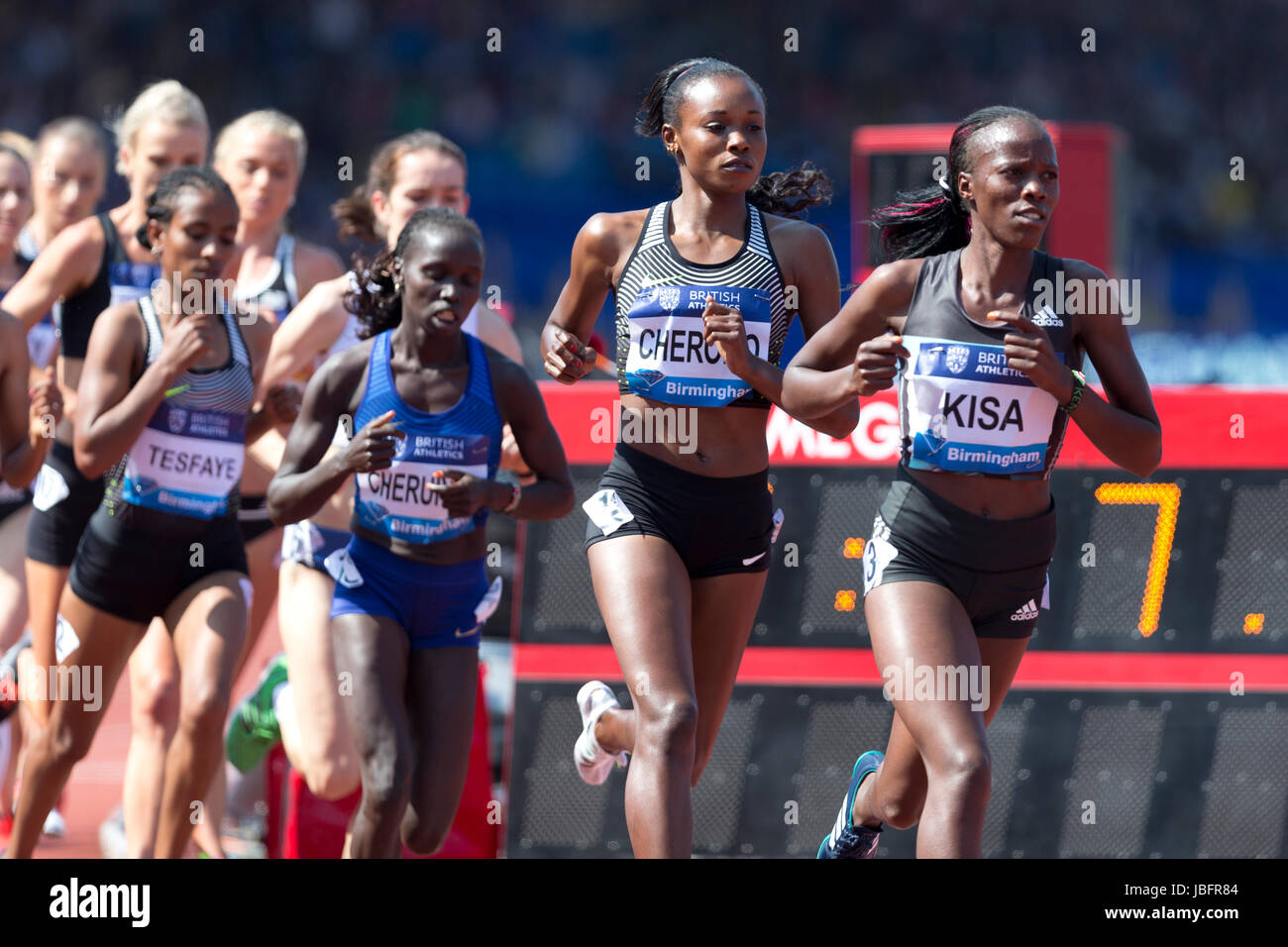 Janet KISA, Mercy CHERONO, competing in the 5000m Women's at the 2016 IAAF Diamond League, Alexander Stadium, - Stock Image