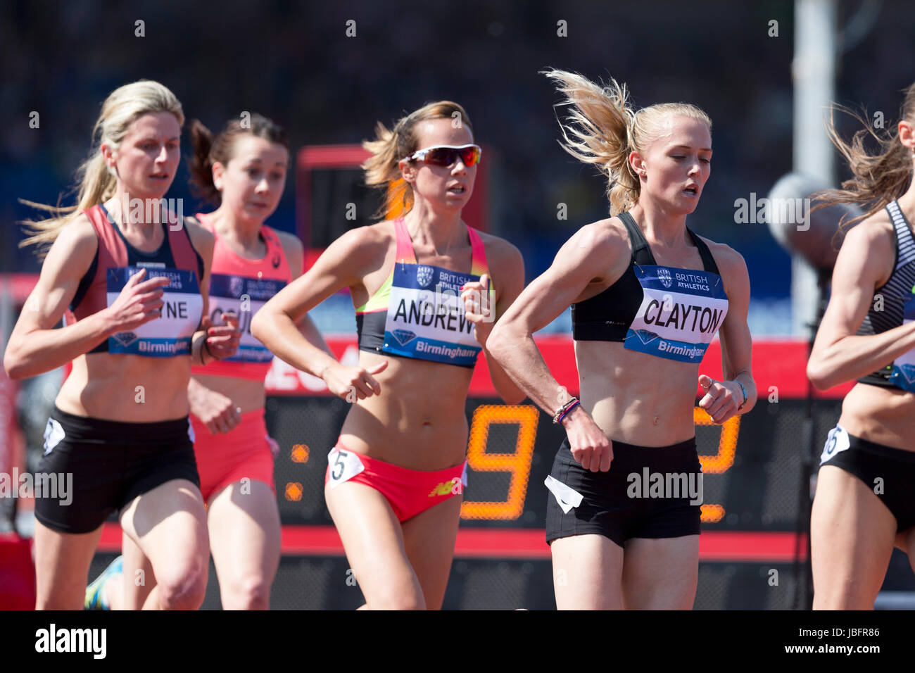 Jessica ANDREWS, Emma CLAYTON competing in the 5000m Women's at the 2016 IAAF Diamond League, Alexander Stadium, - Stock Image