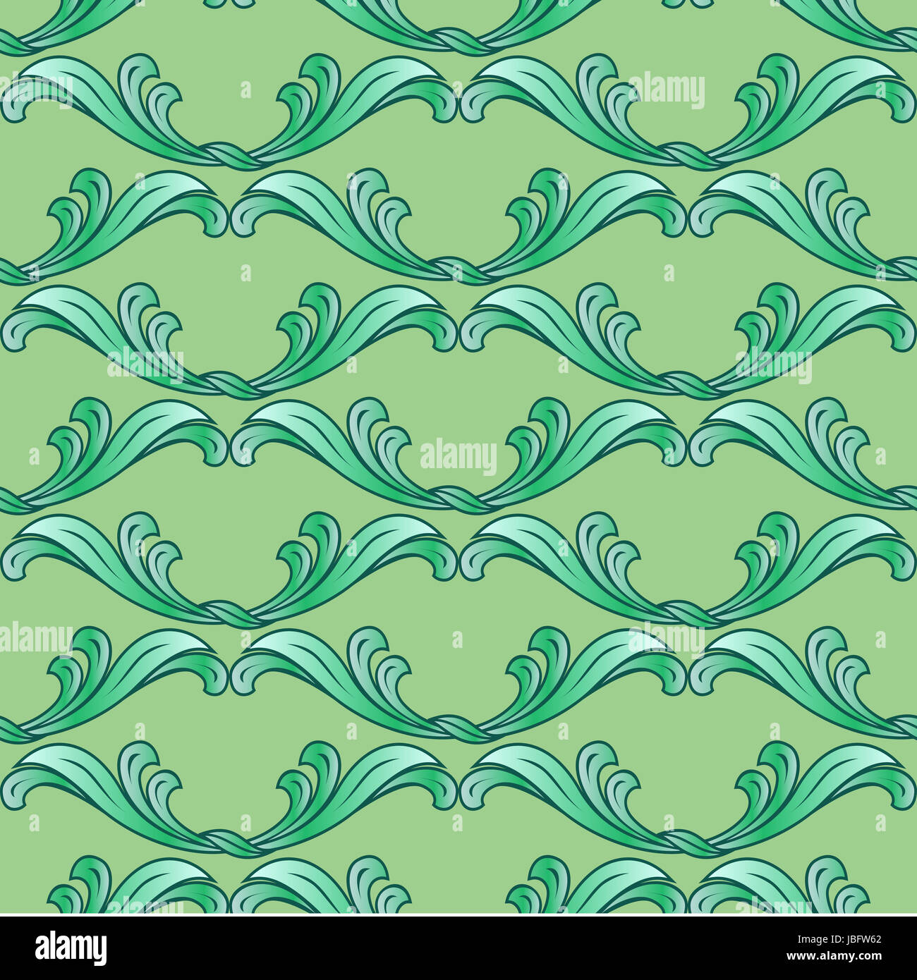 Abstract green background with ornate floral elements Stock Photo