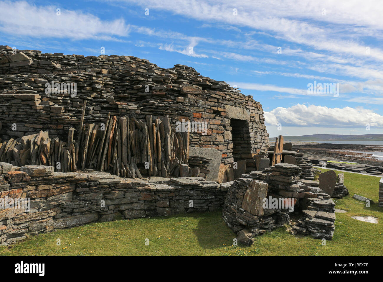 The Iron Age Midhowe Broch on Rousay Island, Orkney, was construc-ted over 2000 years ago from huge sandstone slabs - Stock Image