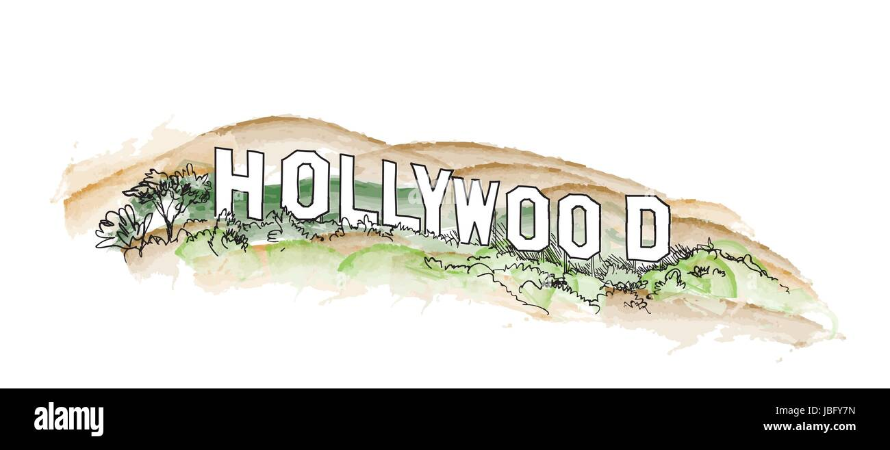 Hollywood Sign Watercolor Illustration Hill Landscape View