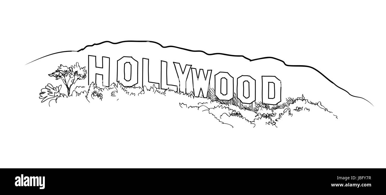 Hollywood Sign Engraving Hill Landscape View