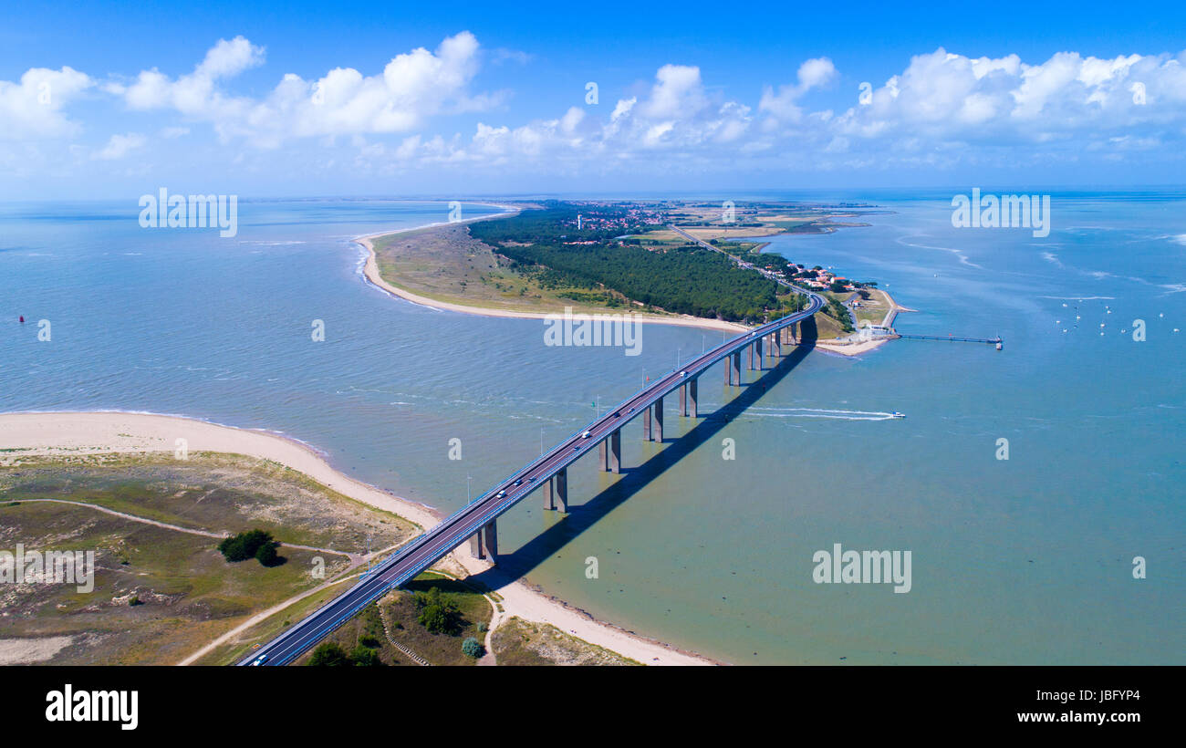 Aerial photography of Noirmoutier island bridge in Vendée, France - Stock Image