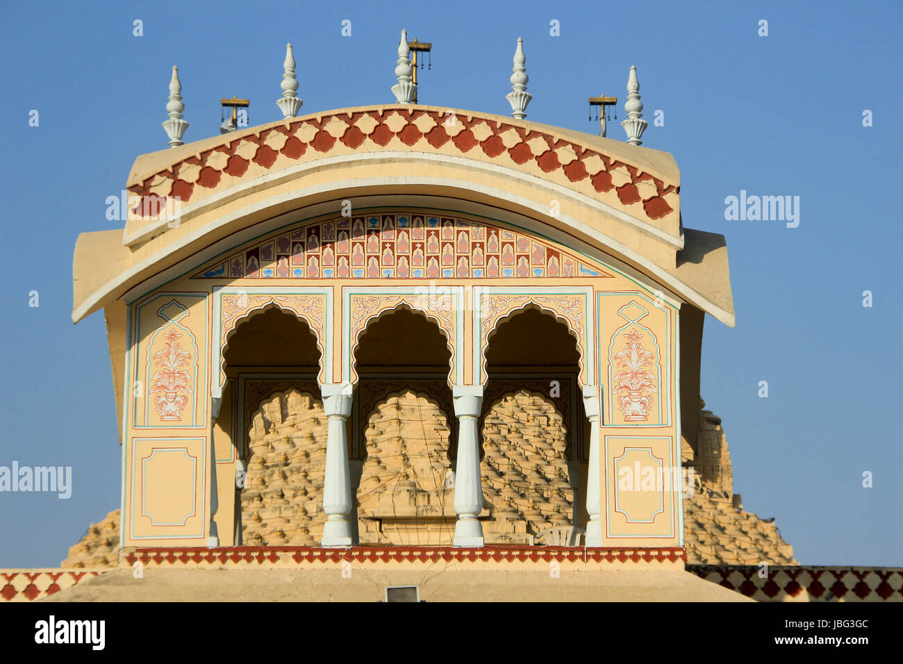Upper portion of ISKCON Temple at Ahmedabad, Gujarath, India, Asia - Stock Image