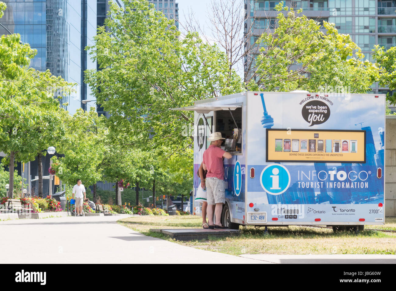 Mobile tourist information center centre, INFOTOGO, Roundhouse Park, Toronto, Ontario, Canada - Stock Image