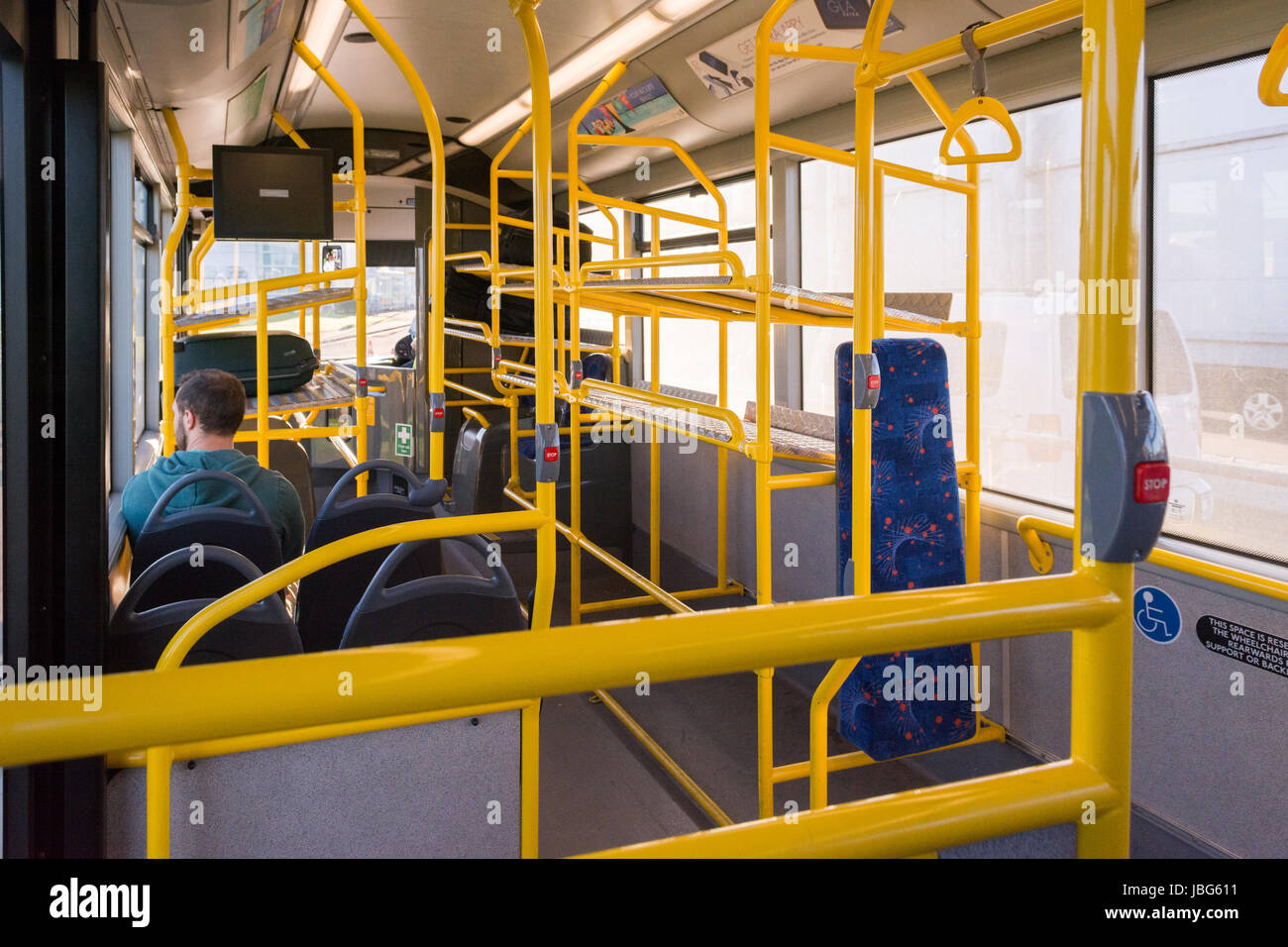 Shuttle bus from long stay car park at Glasgow airport, Glasgow, Scotland, UK - Stock Image