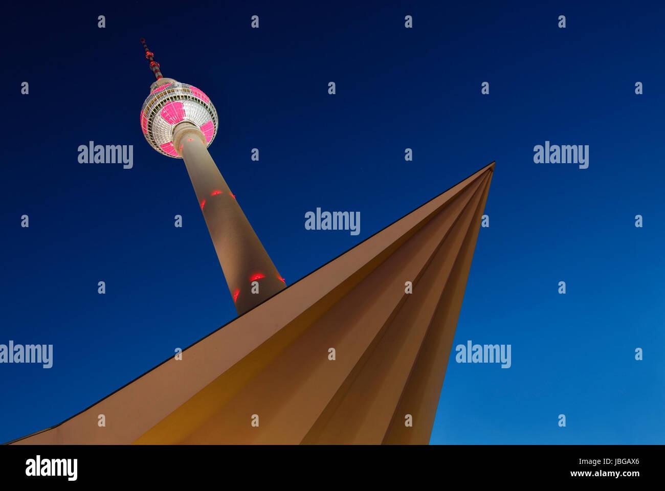 berlin tv tower at night - Stock Image