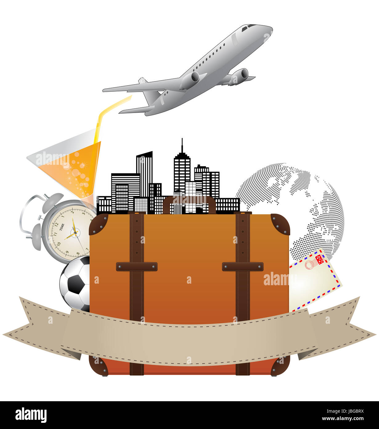 illustration of airplane and suitcase with blank ribbon - Stock Image