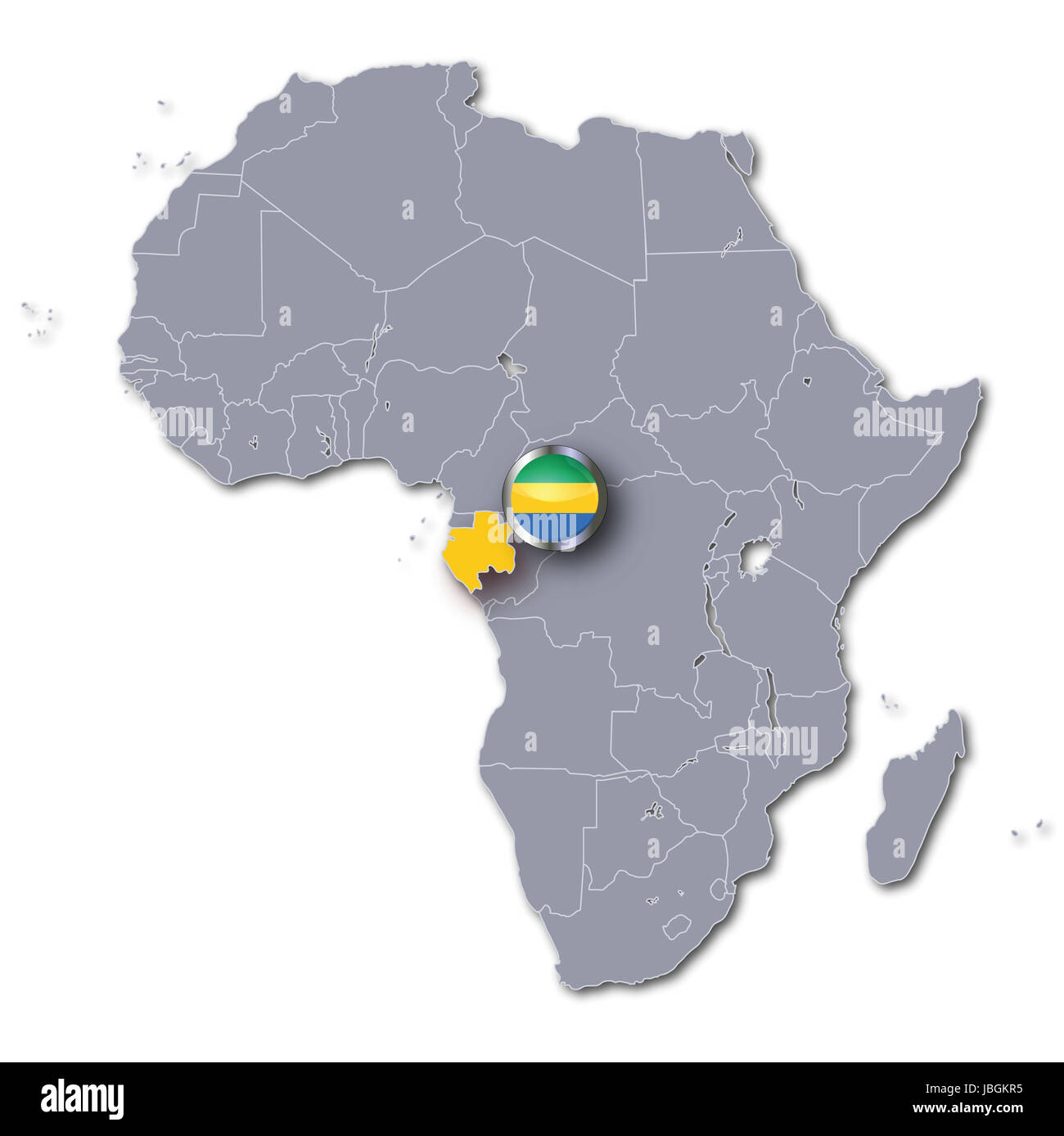 Africa Map Of Gabon Stock Photo 144810937 Alamy