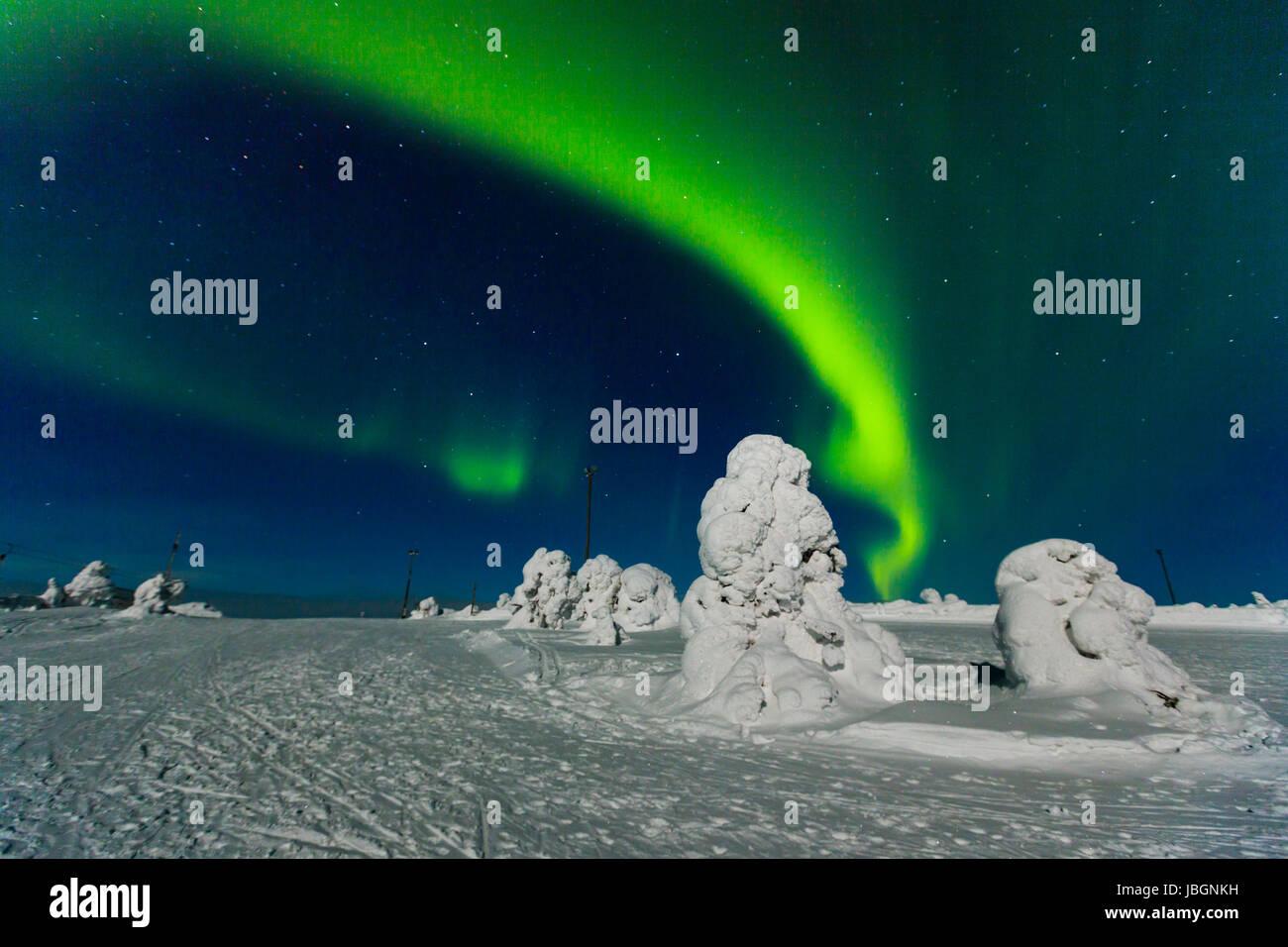 Polarlicht (Aurora borealis), Kittilä, Finnland - Stock Image