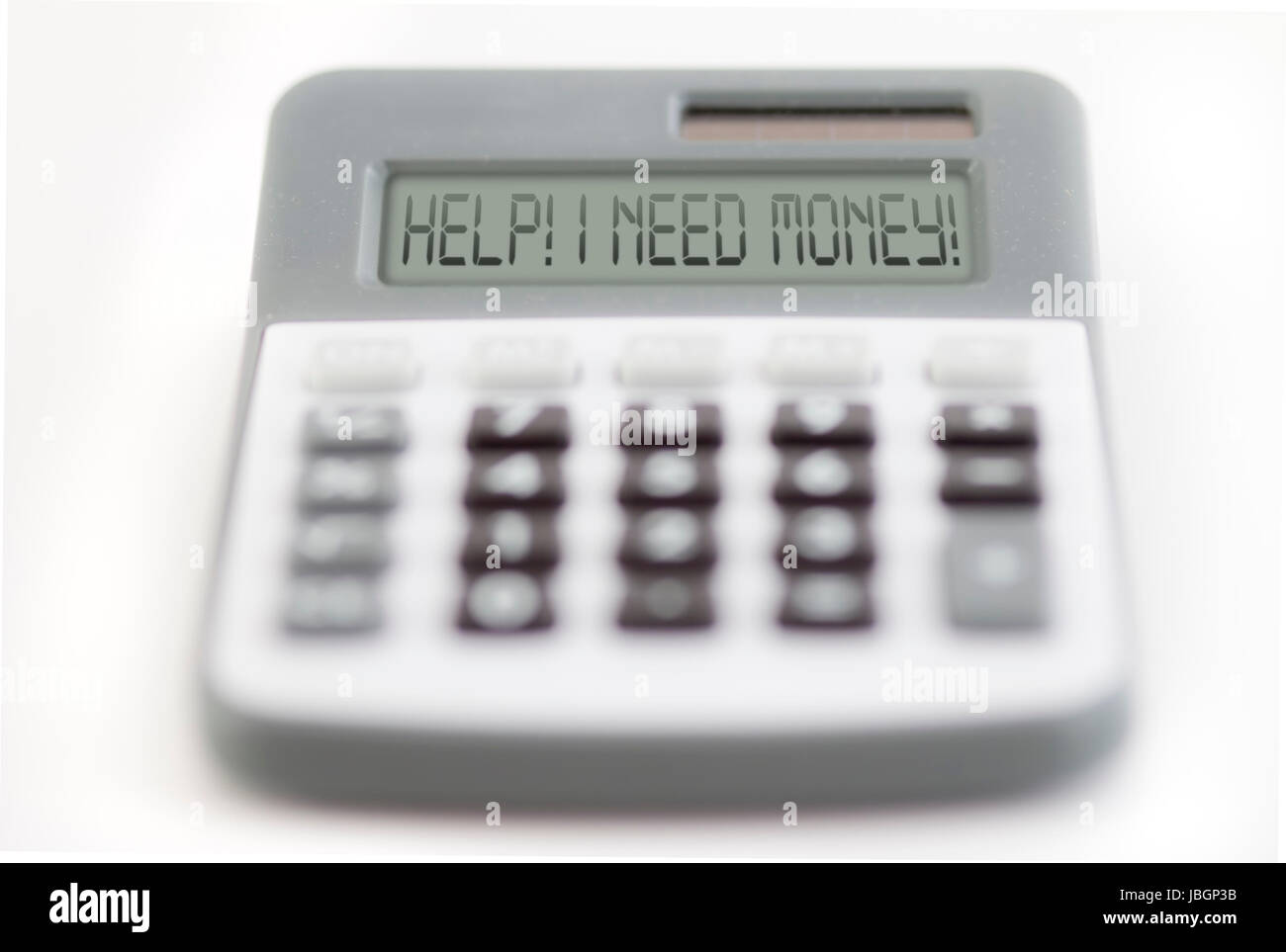 Funny collage - counting of the financial position - help - I need money - Stock Image