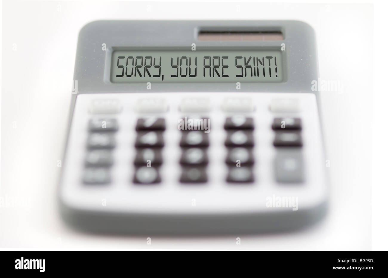 Funny collage - counting of the financial position - you are skint - Stock Image