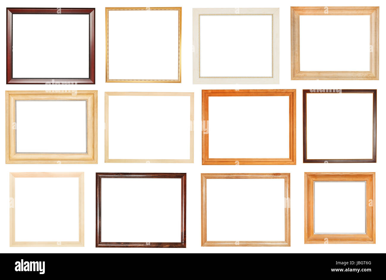 set of wide wooden picture frames with cut out canvas isolated on ...