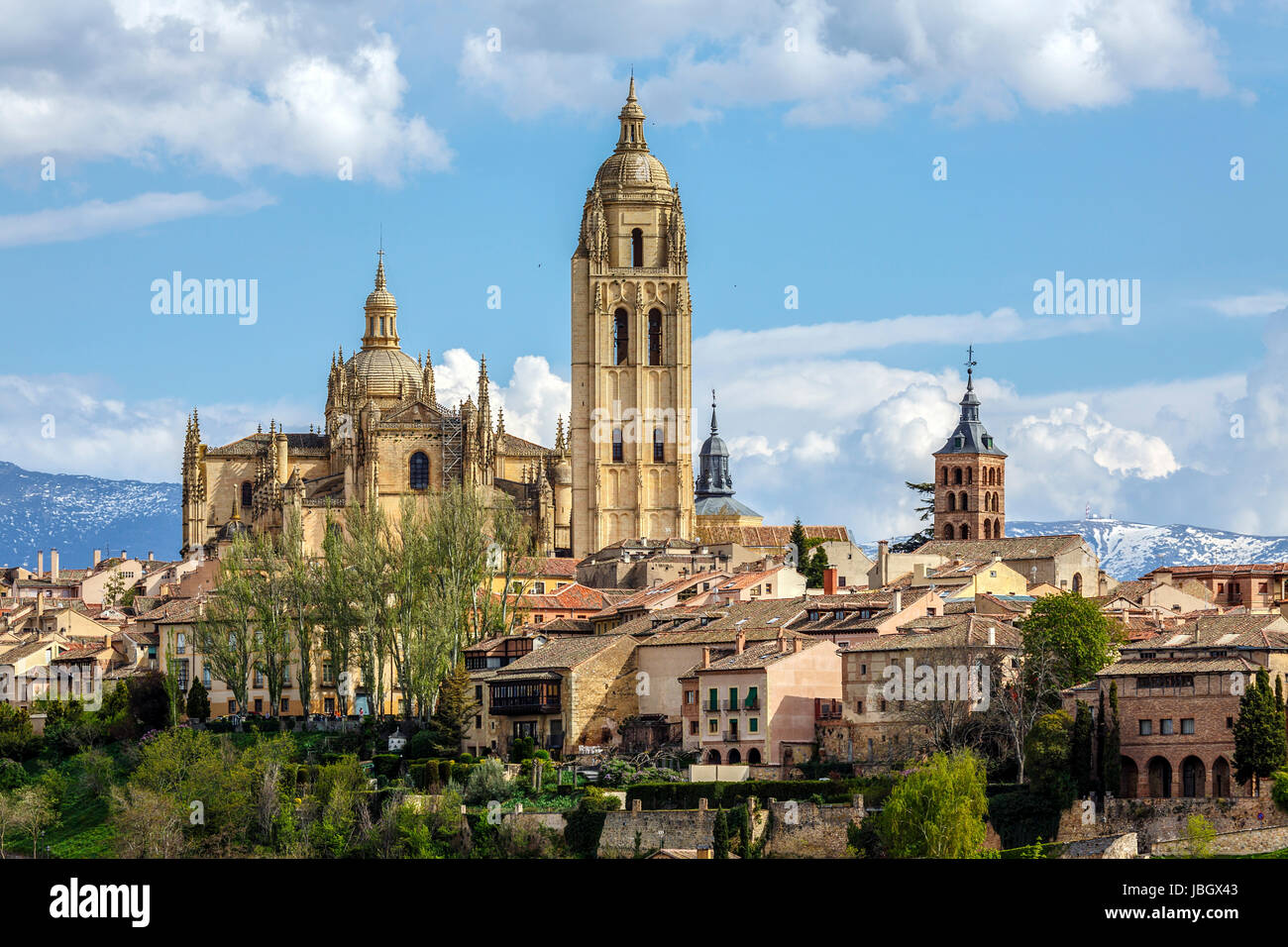 Cathedral of Segovia , with the Sierra de Guadarrama as background Stock Photo