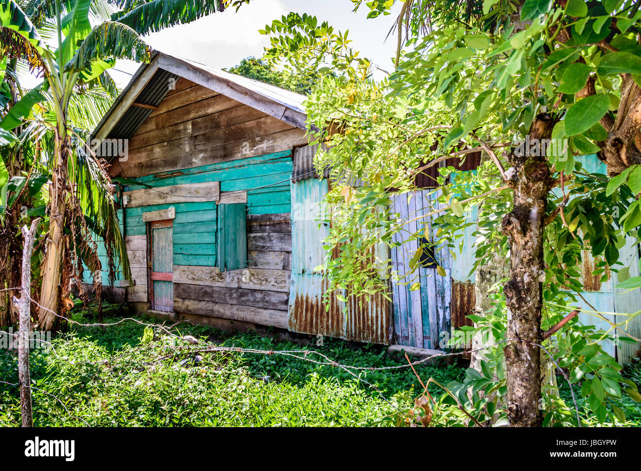 Wooden house in Caribbean town of Livingston, Guatemala - Stock Image