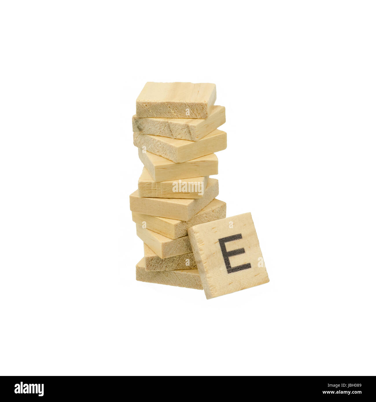 Text wooden blocks isolated on white background - Stock Image