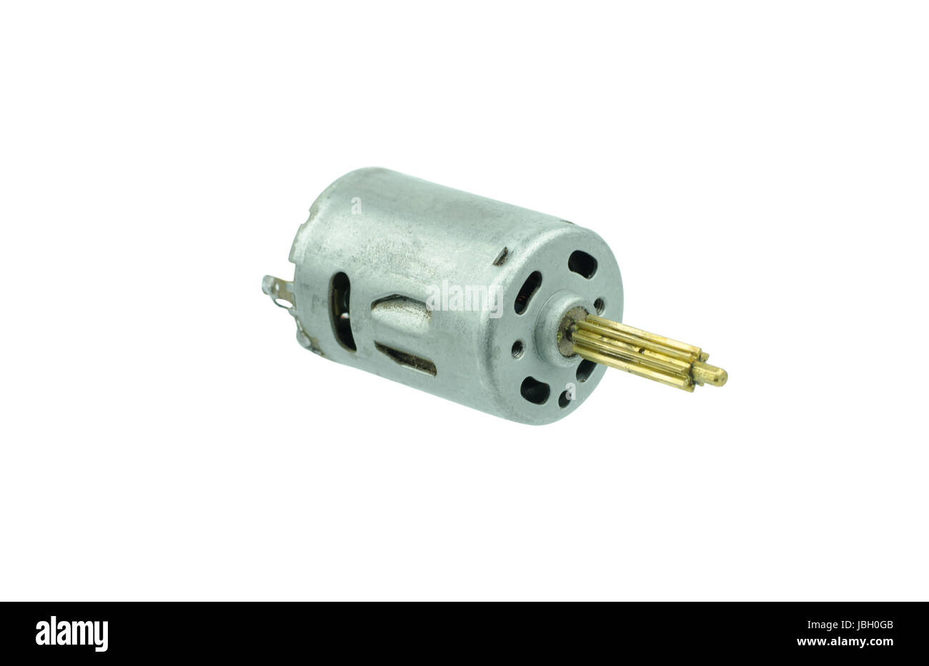 small dc motor gear on isolated white background Stock Photo