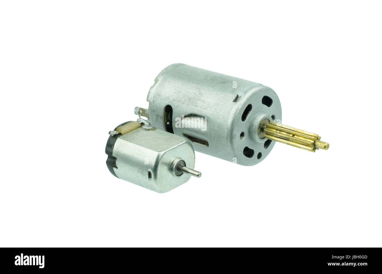 small dc motor gear on isolated white backgroud Stock Photo