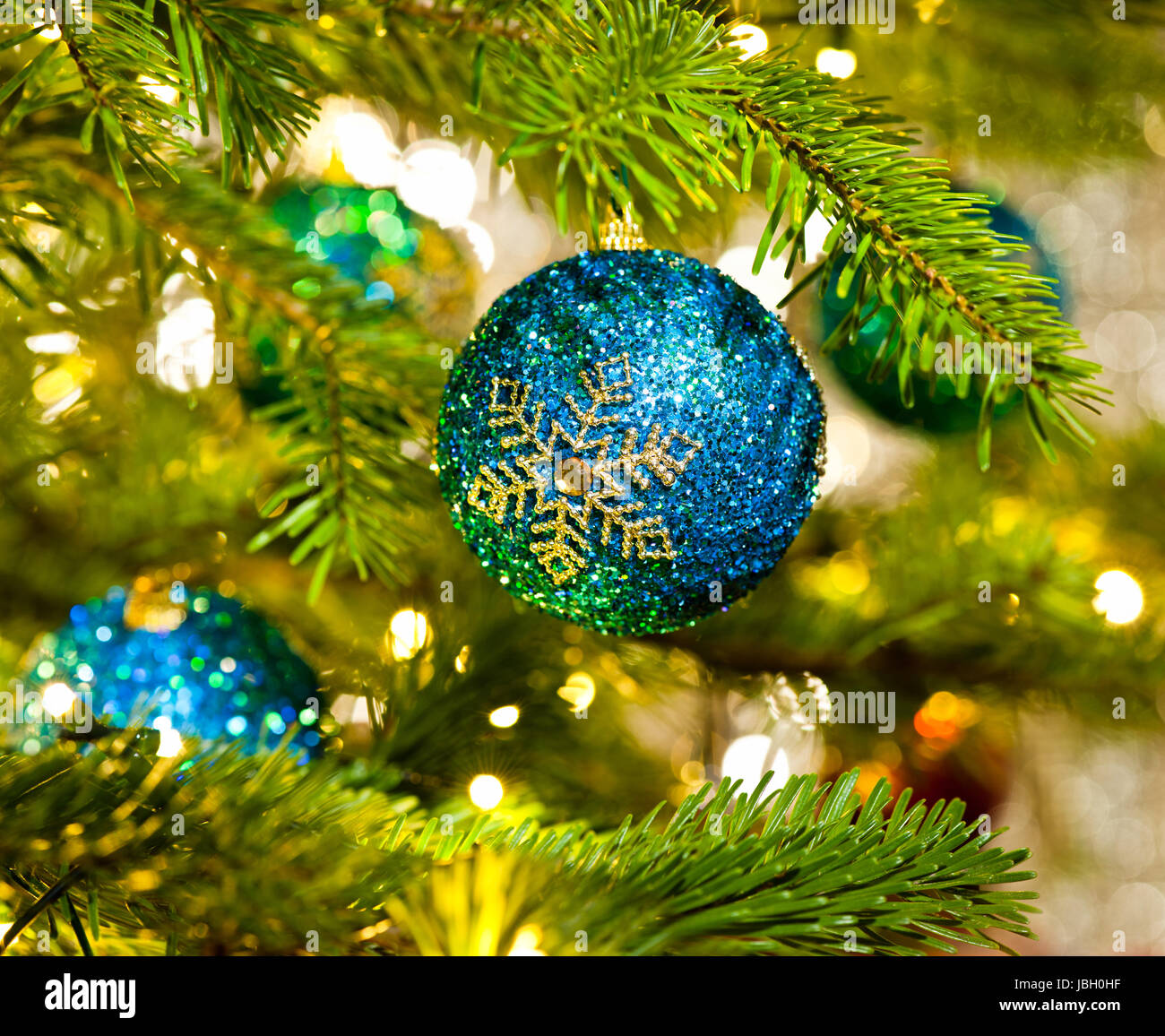 Bauble In A Real Christmas Tree In Bright Color Stock Photo Alamy