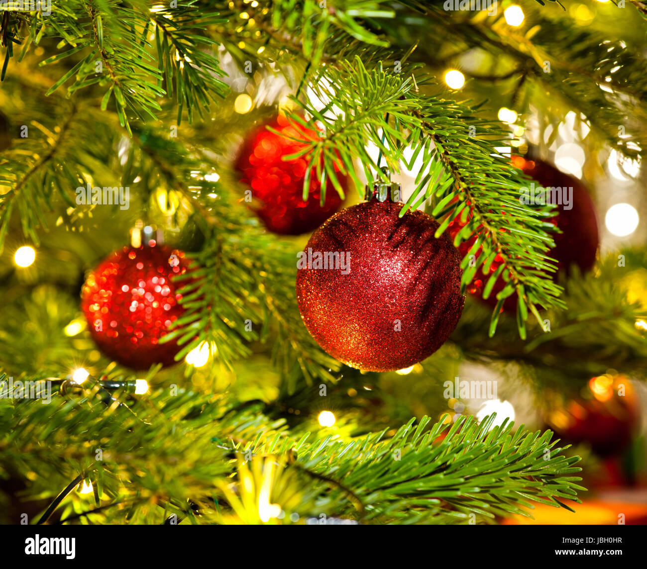 Bauble Ornament In A Real Christmas Tree In Bright Color Stock Photo Alamy