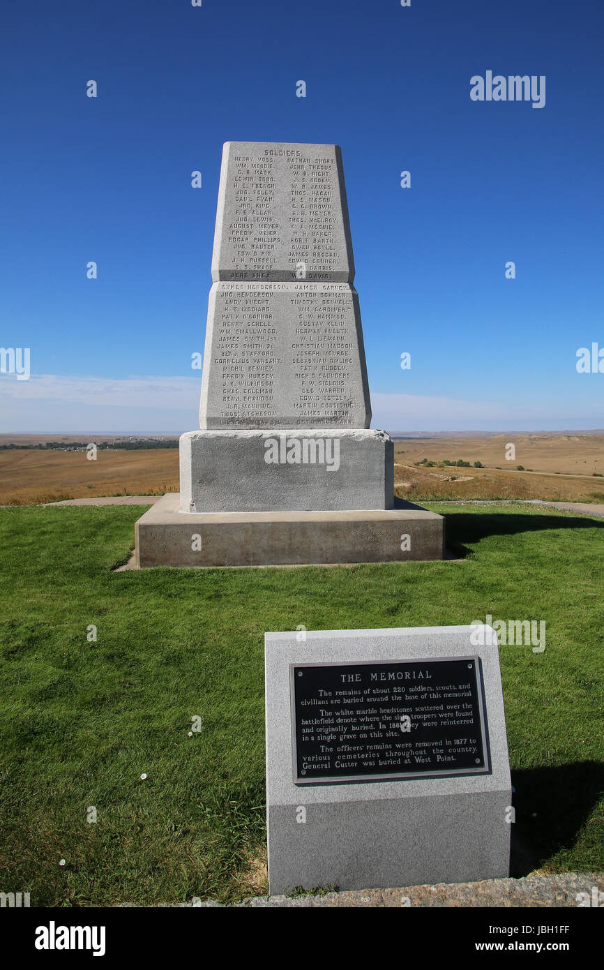 U.S. Army Memorial on Last Stand Hill at Little Bighorn Battlefield National Monument, Montana, USA. It preserves Stock Photo