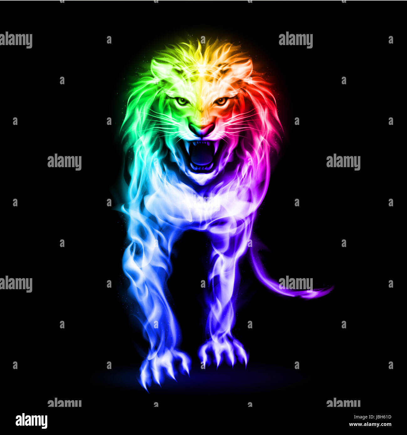 Fire lion in spectrum colors on black background - Stock Image