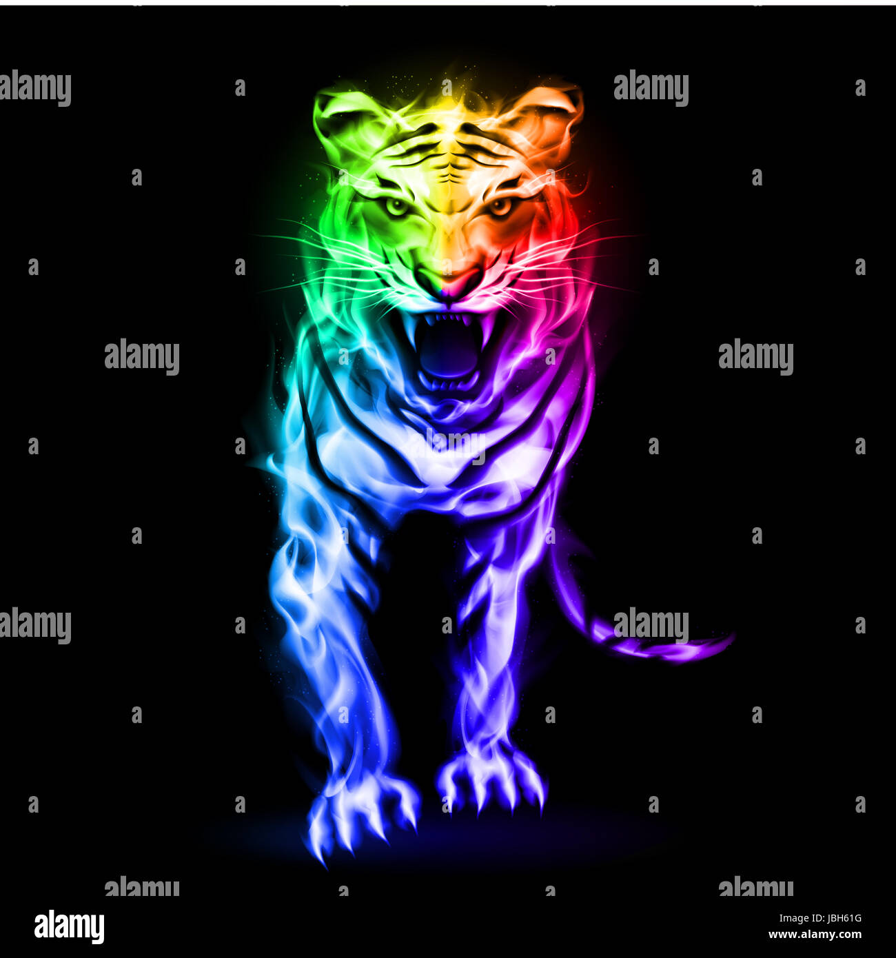 Fire tiger in spectrum colors on black background - Stock Image