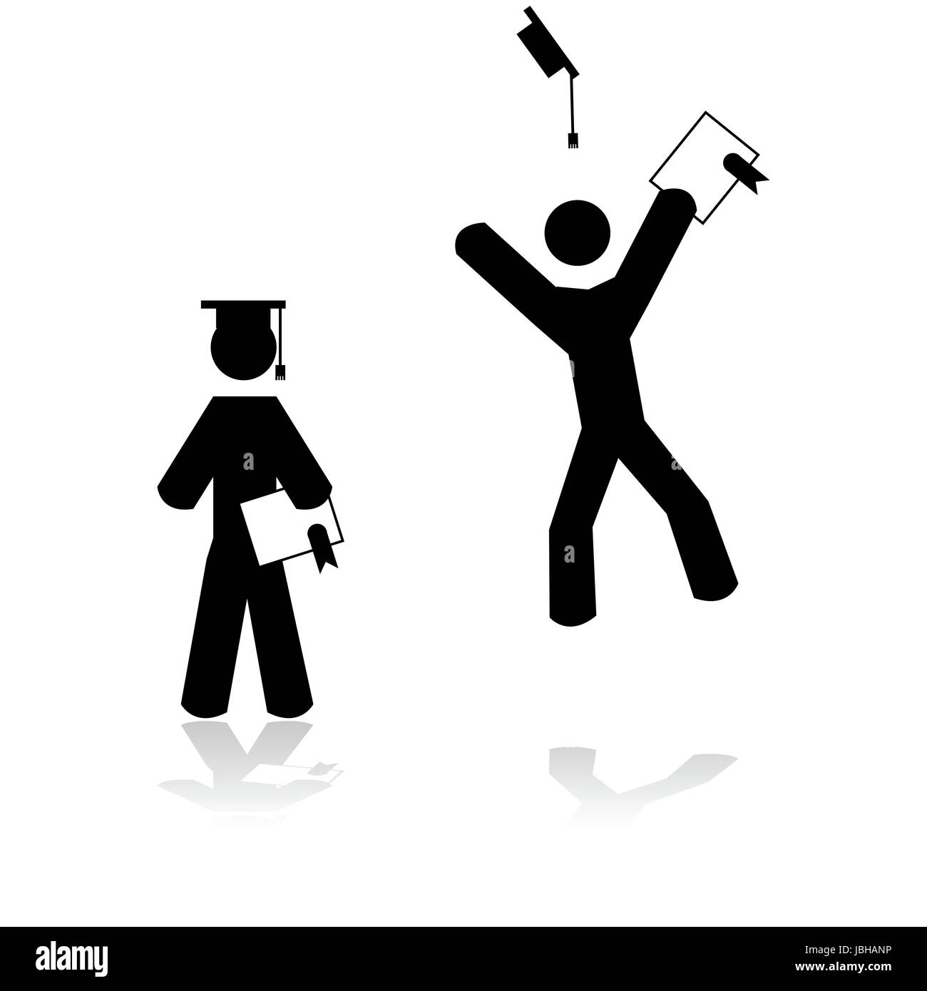 Graduation Jumping Silhouette