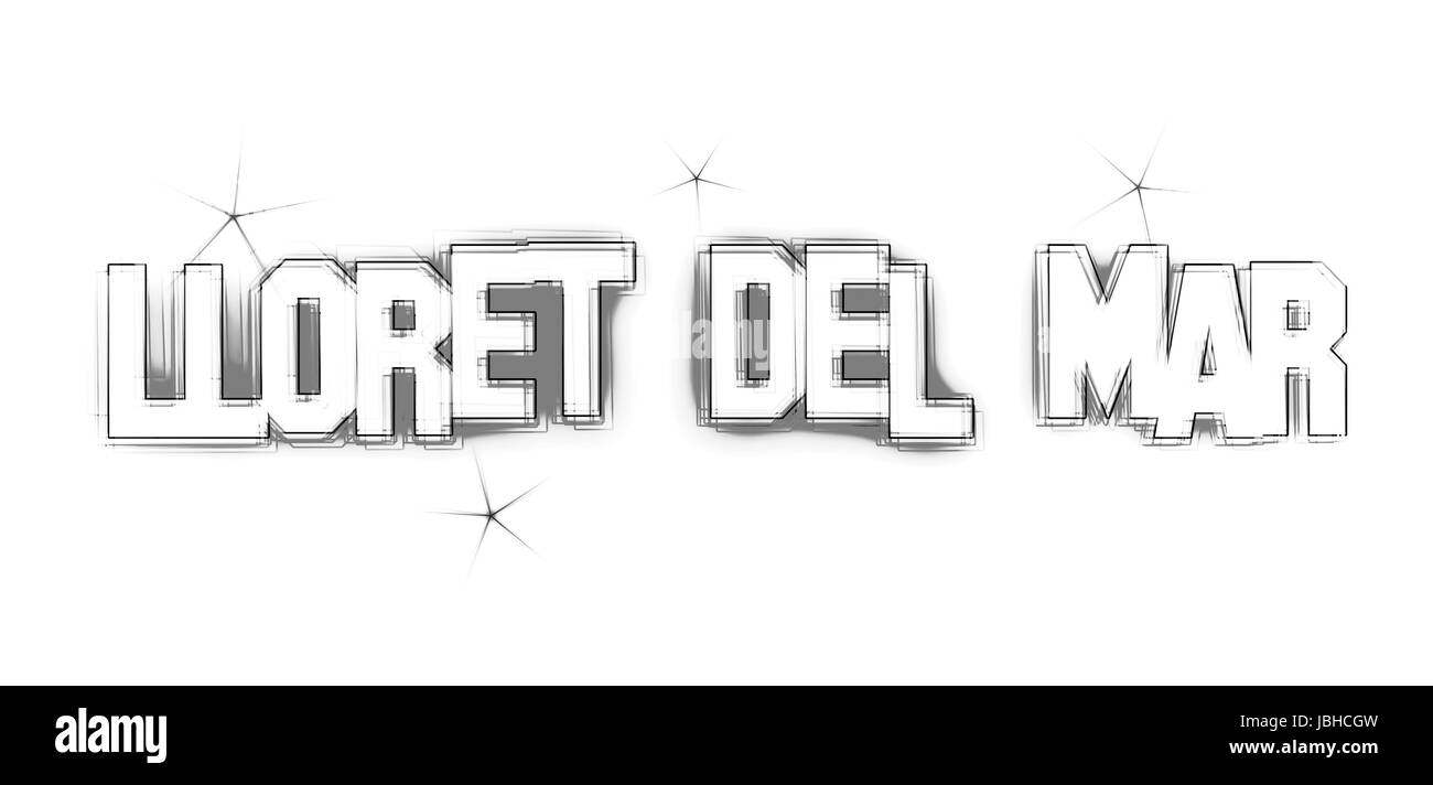 Lloret del Mar as an illustration in neon light style - Stock Image