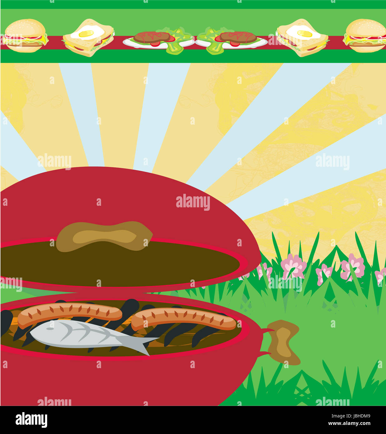 tasty meat on the grill barbecue party invitation stock photo