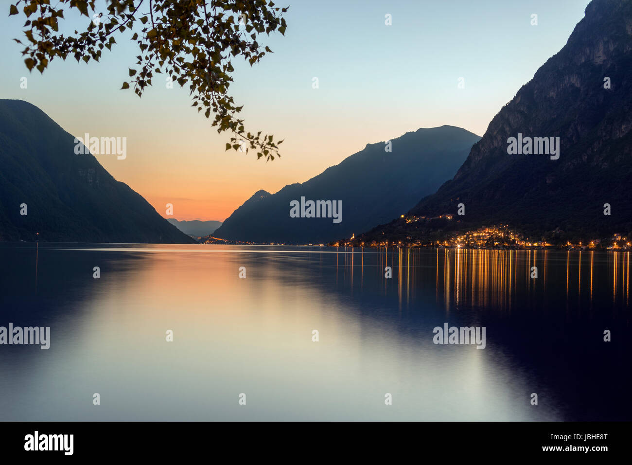 Italian Lakes - Lake Lugano at Porlezza in northern Italy at dusk. Stock Photo