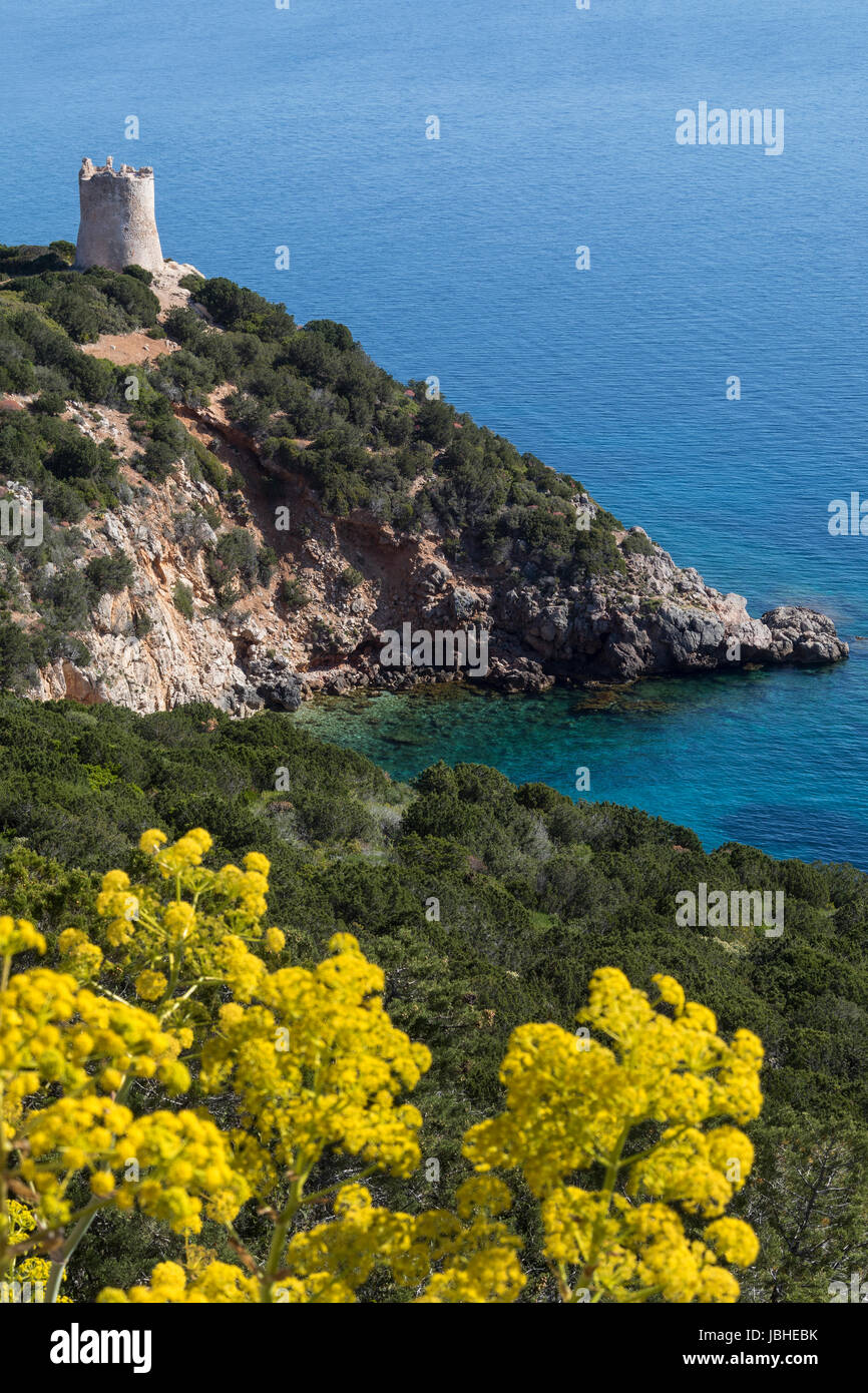 The northwest coast of Sardinia. View from the headland of Capo Caccia in Sassari Province, Italy. - Stock Image