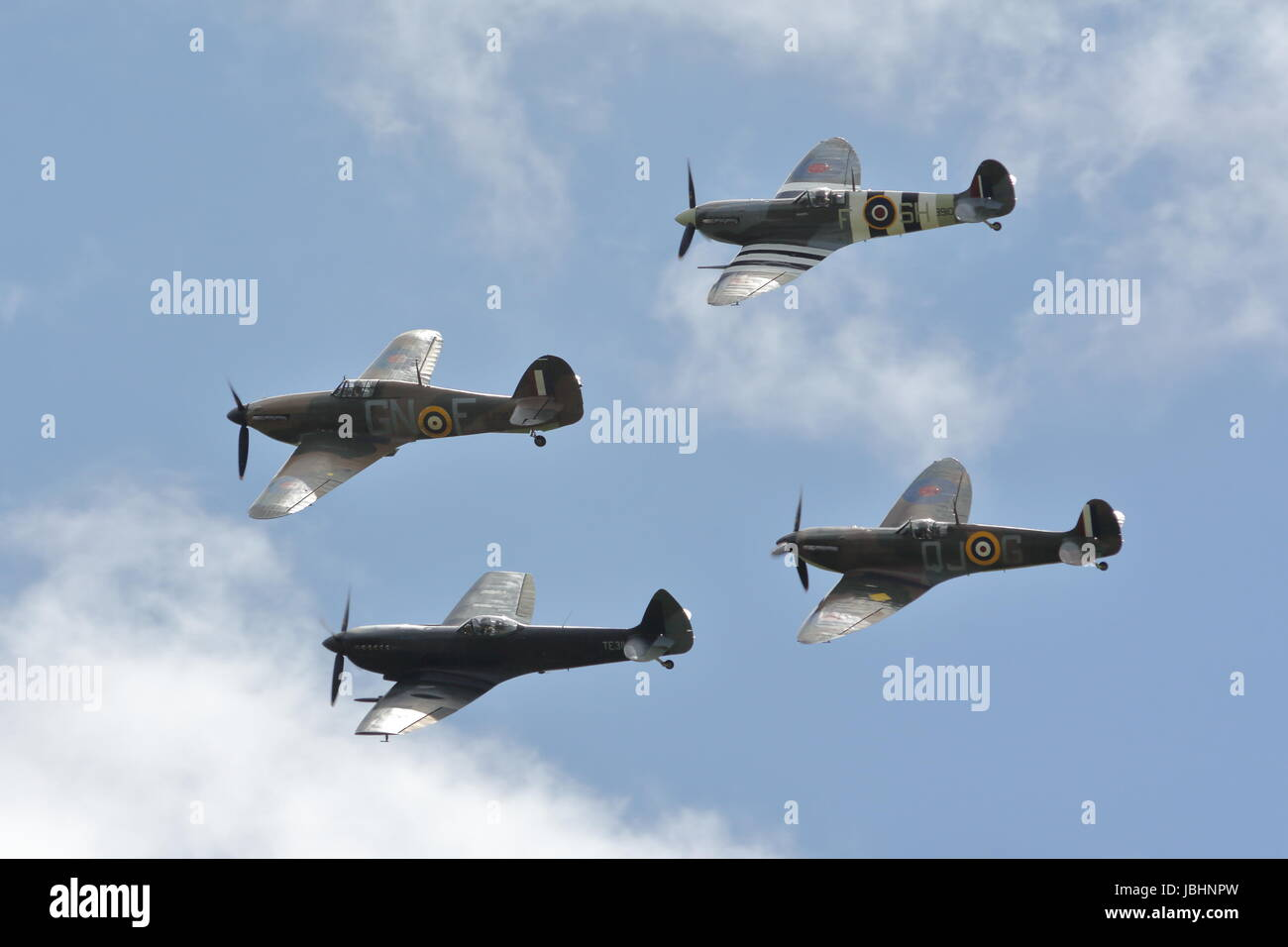 RAF Cosford, Shropshire, UK. 11th June, 2017. The BBMF displayed their legendary Spitfires and a Hurricane Credit: - Stock Image