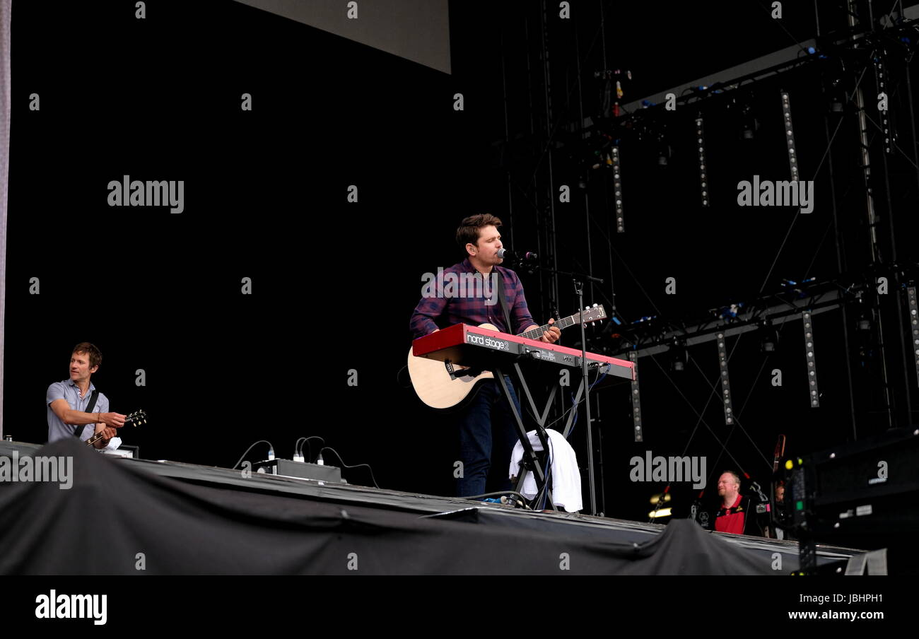 Newport, Isle of Wight, UK. 11th June, 2017. Isle of Wight Festival Day 4 - British band Scouting for Girls performing - Stock Image