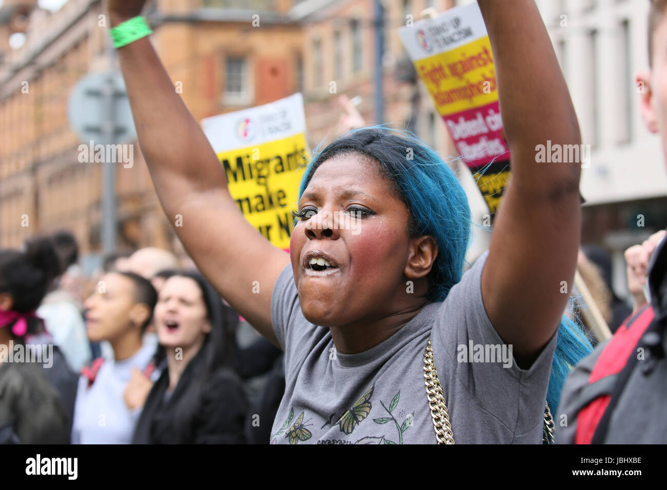 Manchester, UK. 11th June, 2017. Anti racist protester in Manchester, 11th June, 2017 (C)Barbara Cook/Alamy Live - Stock Image