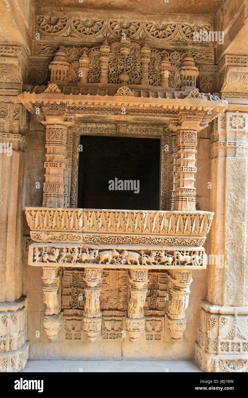 Highly decorative, etched stone balcony at Adalaj Step Well in Ahmedabad, Gujarat, India, Asia - Stock Image