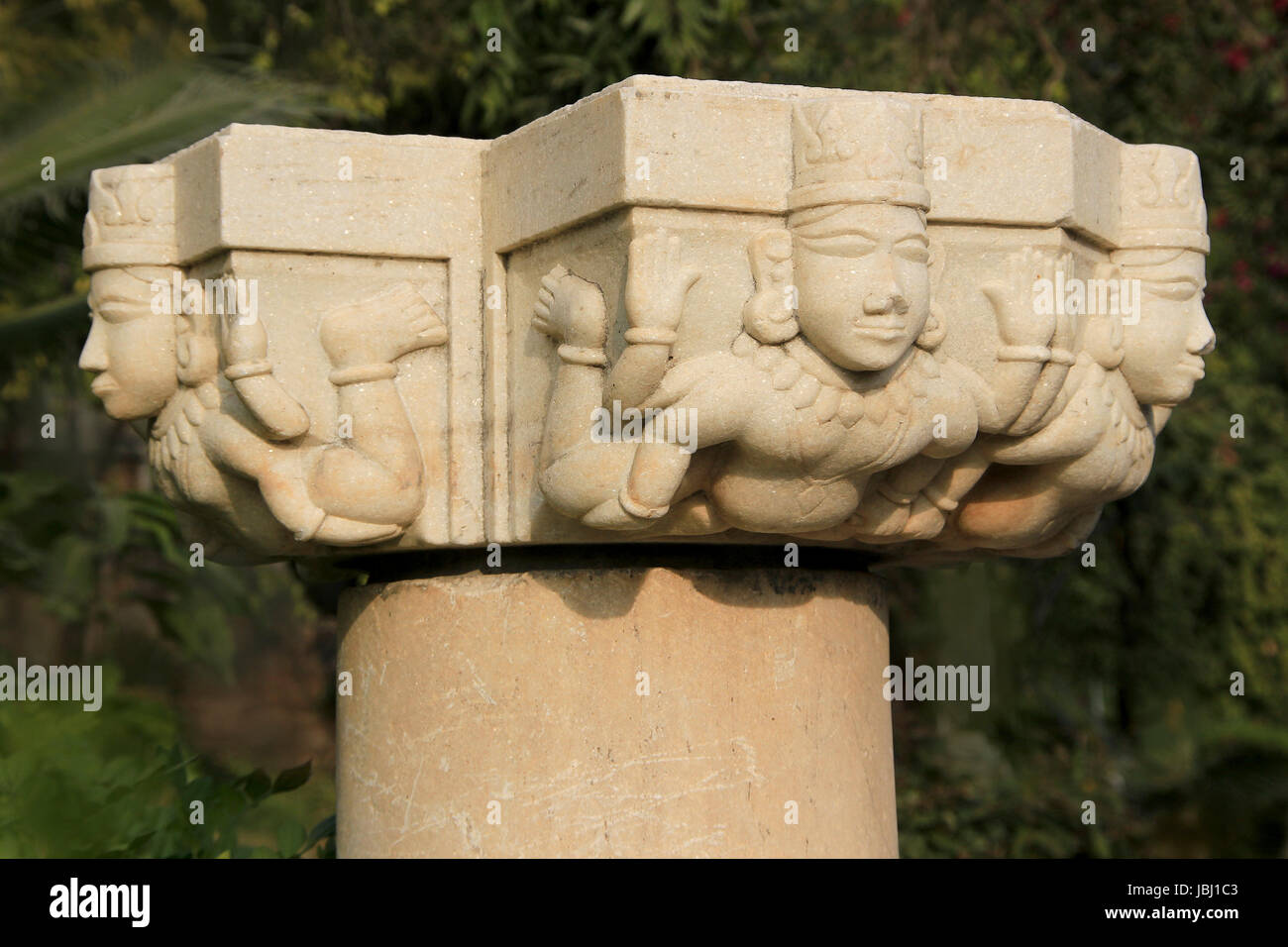 Interesting carving of figures on head of pillar near Pratap Smarak on Moti Magri Hill in Udaipur, Gujarat, India, - Stock Image