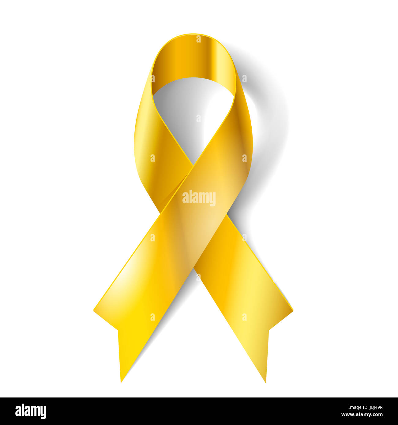 Gold Ribbon As Symbol Of Childhood Cancer Awareness Stock Photo