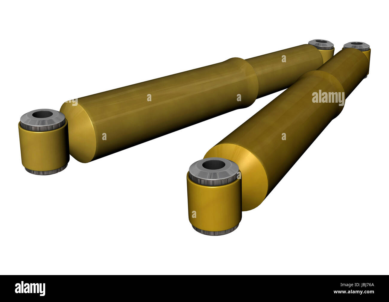 3D digital render of two hydraulic shock absorbers isolated on white background - Stock Image