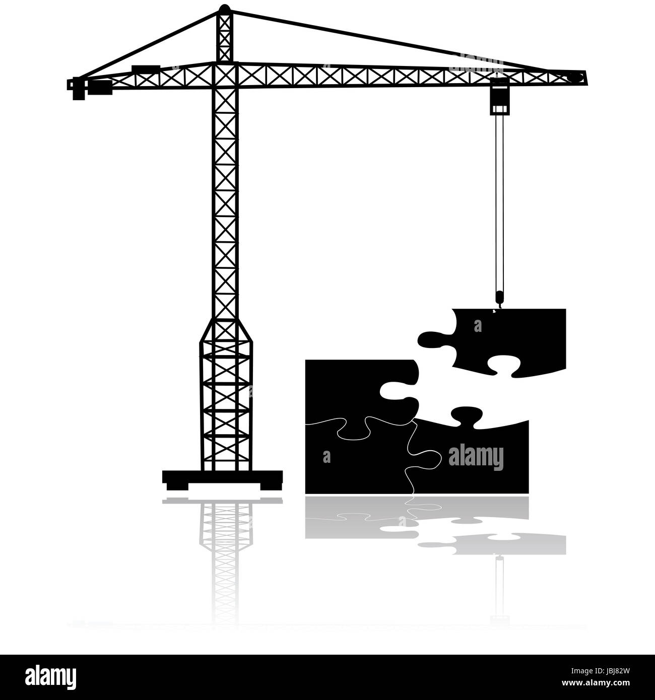 Concept illustration showing a crane moving the final missing piece to complete a puzzle - Stock Image