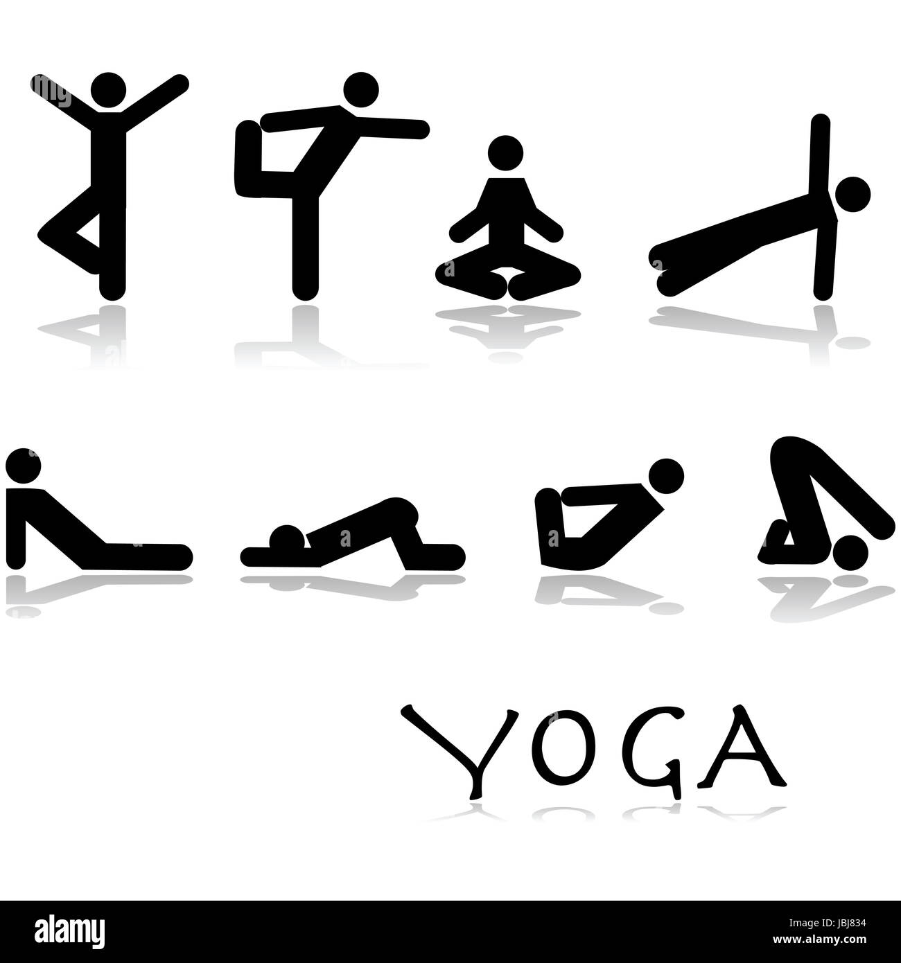 Icon set showing different yoga poses performed by stick figures stock image