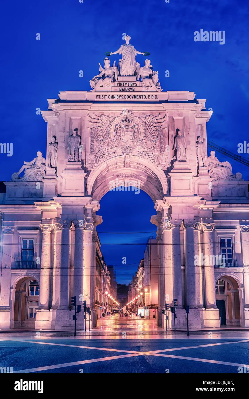 Lisbon, Portugal: the Triumphal Rua Augusta Arch, Arco Triunfal da Rua Augusta - Stock Image