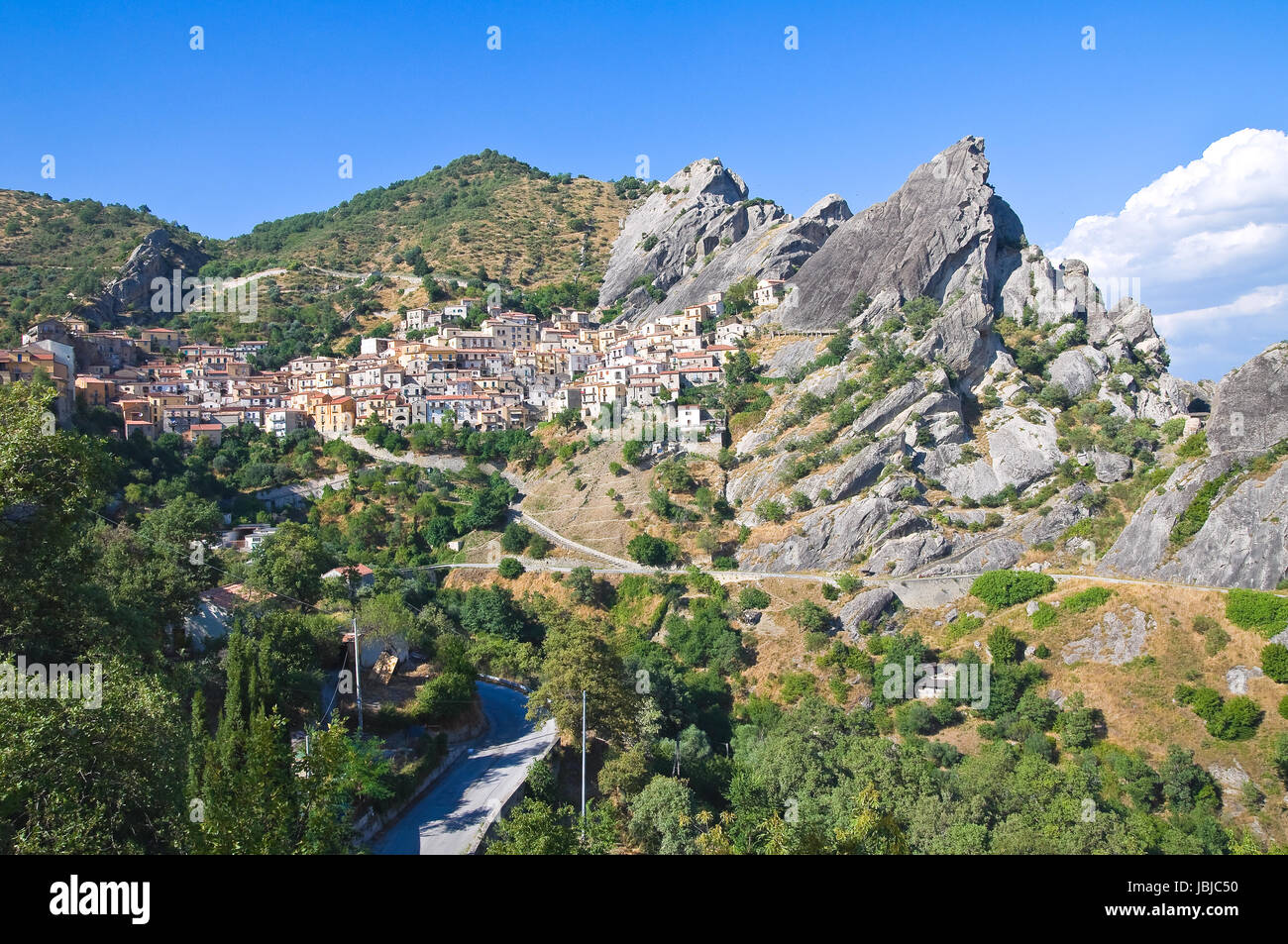 Panoramic view of Castelmezzano. Basilicata. Italy. Stock Photo