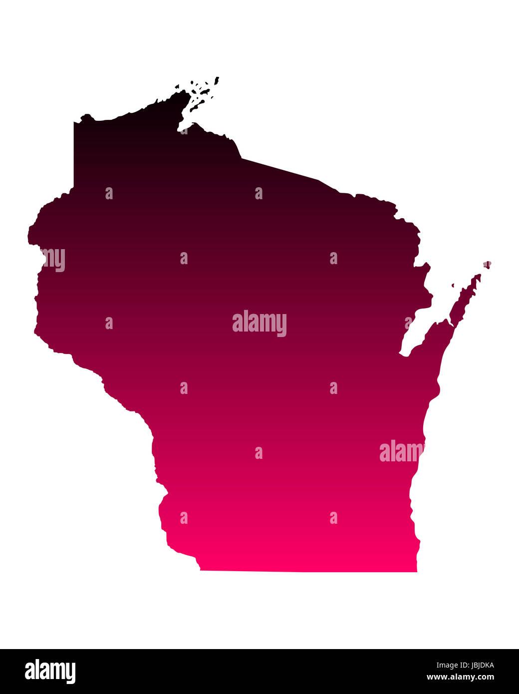 Karte von Wisconsin - Stock Image