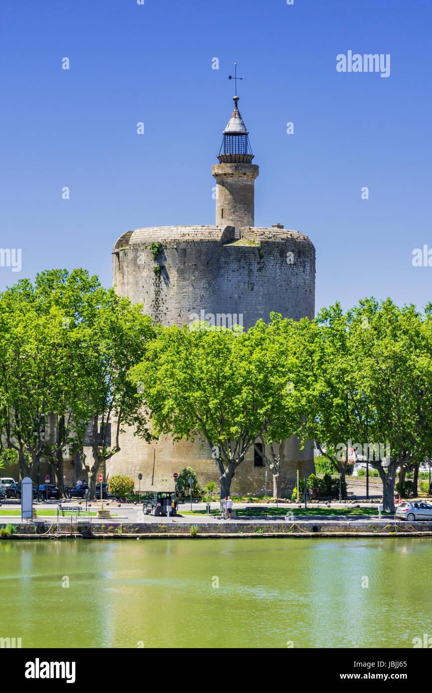 The medieval tower, Tour de Constance, Aigues Mortes, Nimes, Gard, Occitanie, France - Stock Image