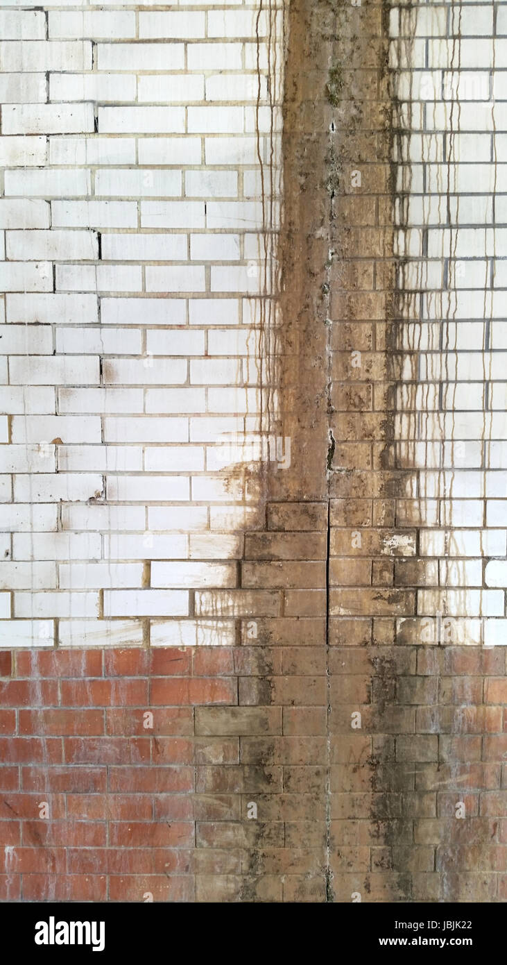 Grungy Vintage Brick Wall - Stock Image