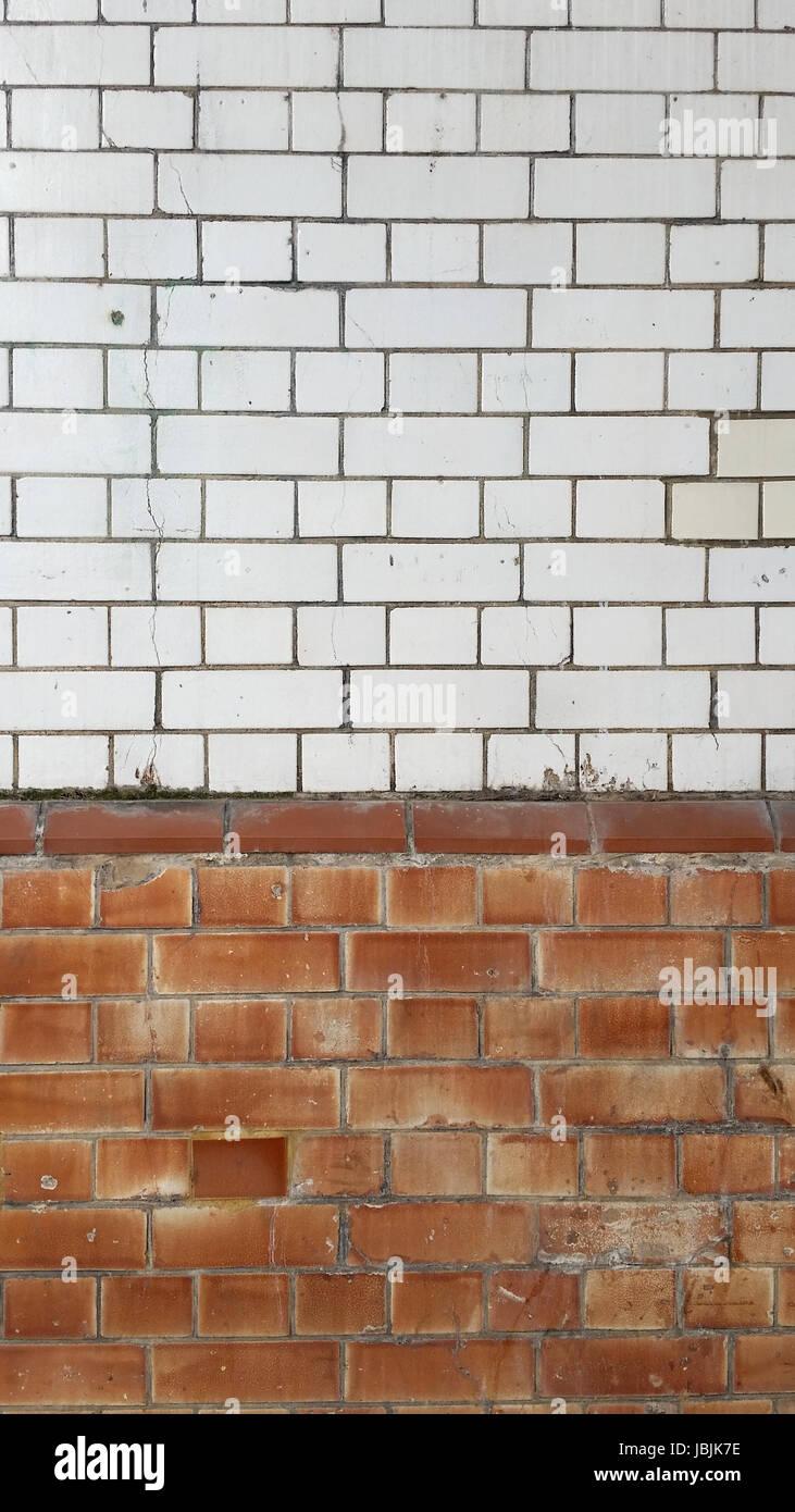 Two Tone Vintage Brick Wall - Stock Image
