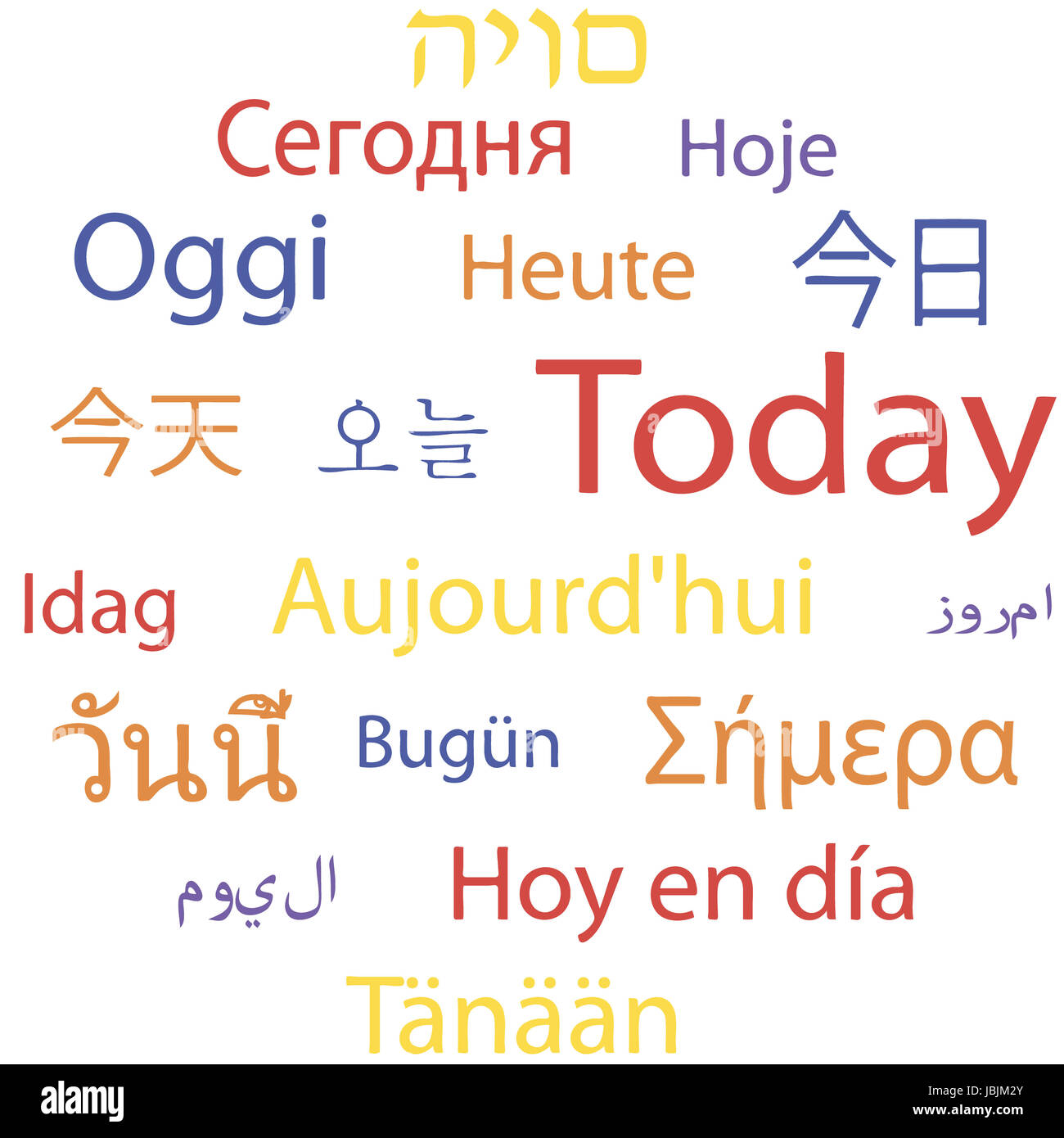 Tag cloud: 'Today' in different languages. Vector illustration. - Stock Image