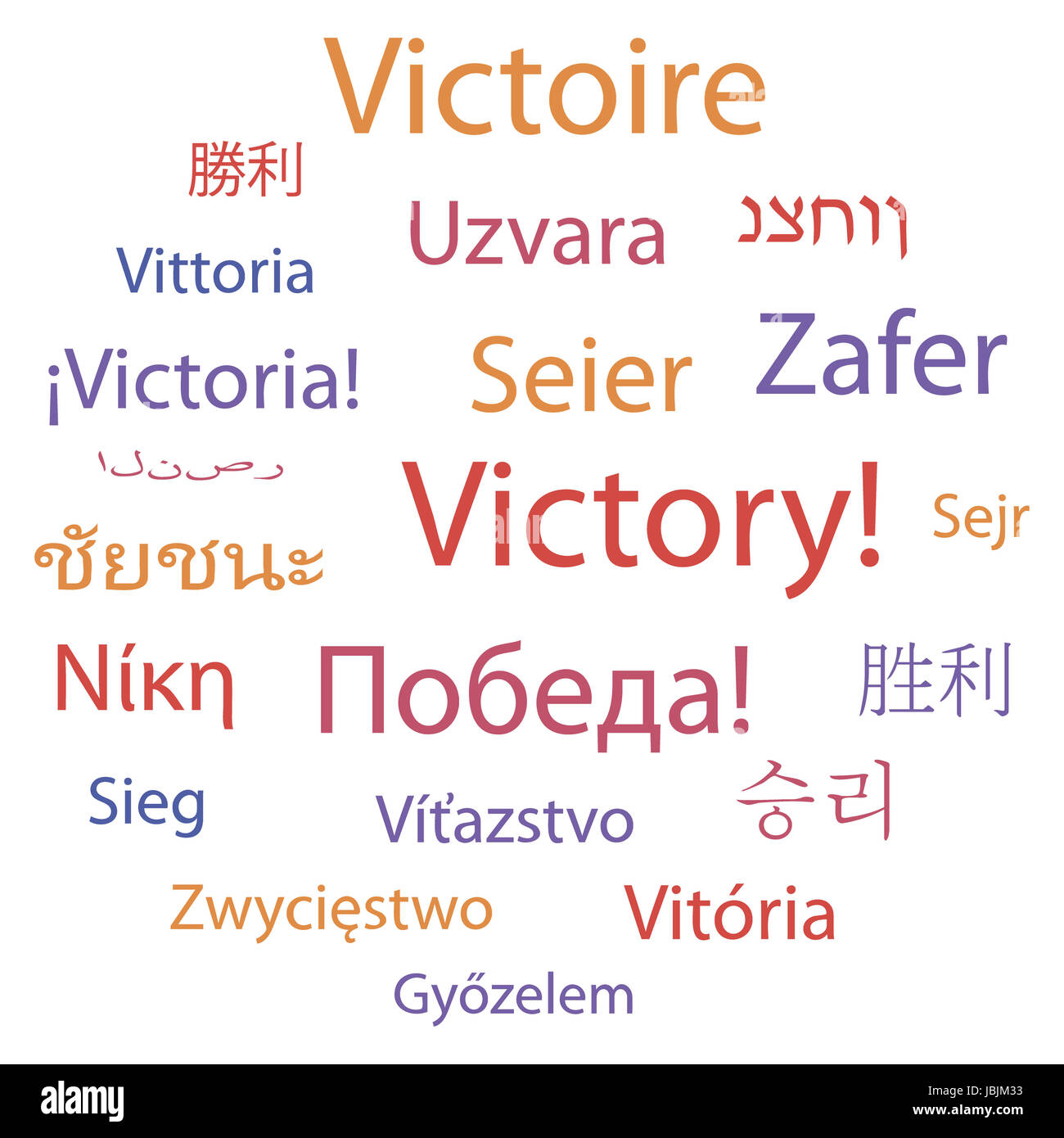 Tag cloud: 'Victory' in different languages. Vector illustration. - Stock Image