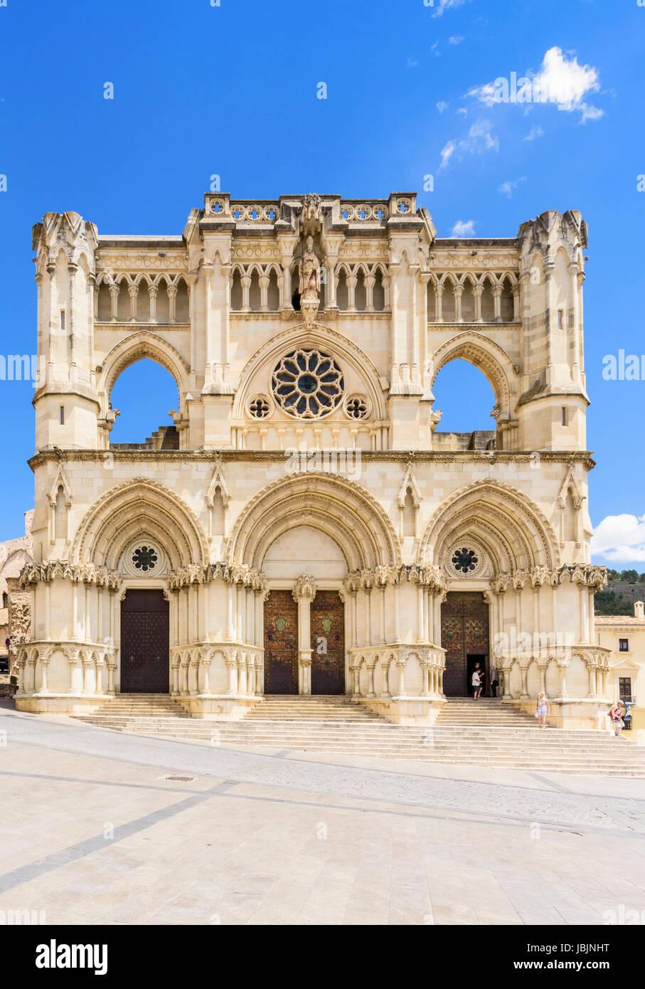 Facade of the Cathedral of Santa Maria de Gracia, Plaza Mayor, Cuenca, Castilla La Mancha, Spain - Stock Image